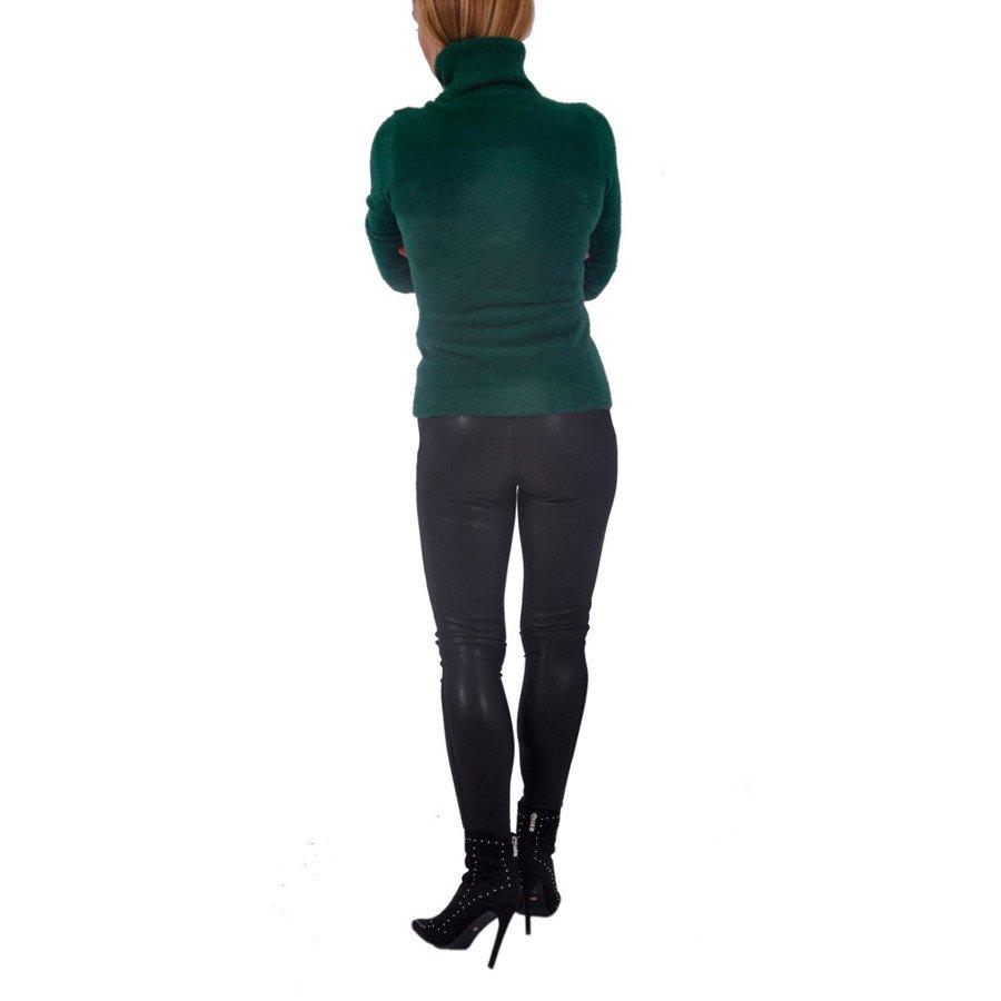 Sweter  golf z włosem zielony PiuPiu