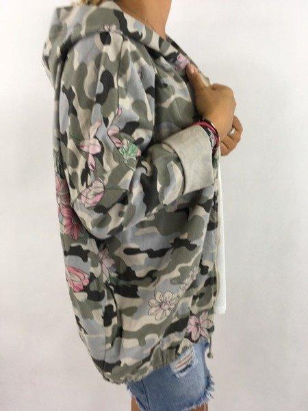 Bawełniana beżowa kurtka moro w kwiaty