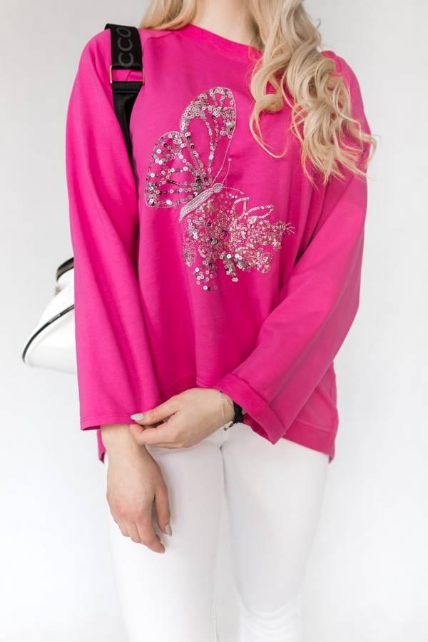 Bawełniana bluza w kolorze fuksji z motylem