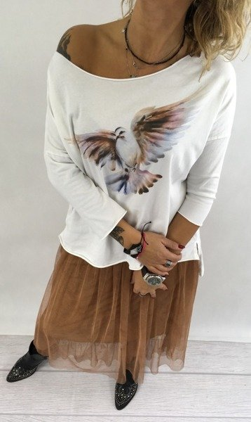 Bluza biała ptak.