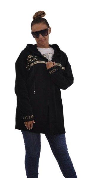 Bluza czarna w złote napisy kaptur