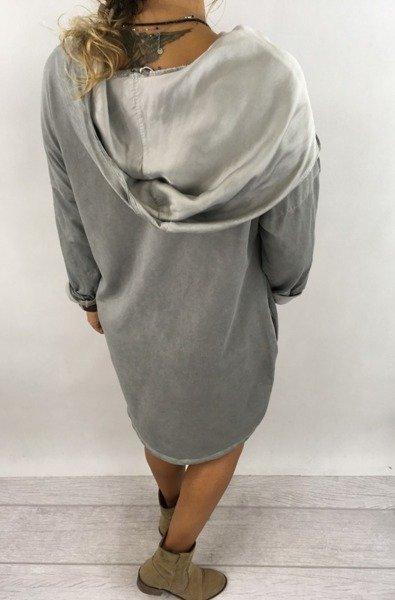 Bluza długa szara z satynowym kapturem