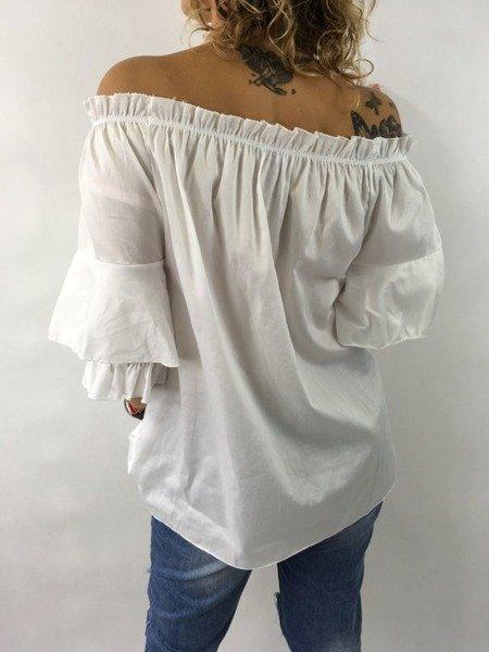 Bluzka biała hiszpanka z kokardą.