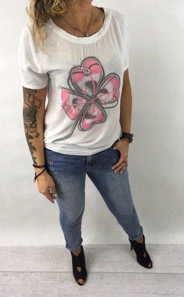 Bluzka biała kwiat wiązana