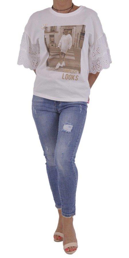 Bluzka biała nadruk i szeroki rękaw z gipiury