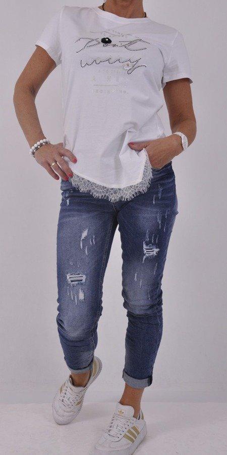 Bluzka biała z koronką na dole L/XL