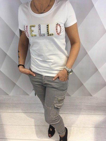 Bluzka biała z napisem Hello M/L