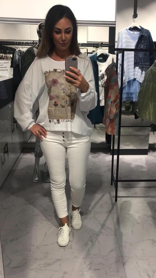 Bluzka biała z printem wiązana na plecach bawełna