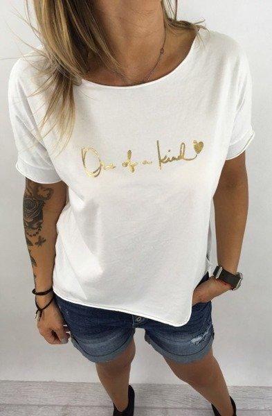 Bluzka biała złoty napis