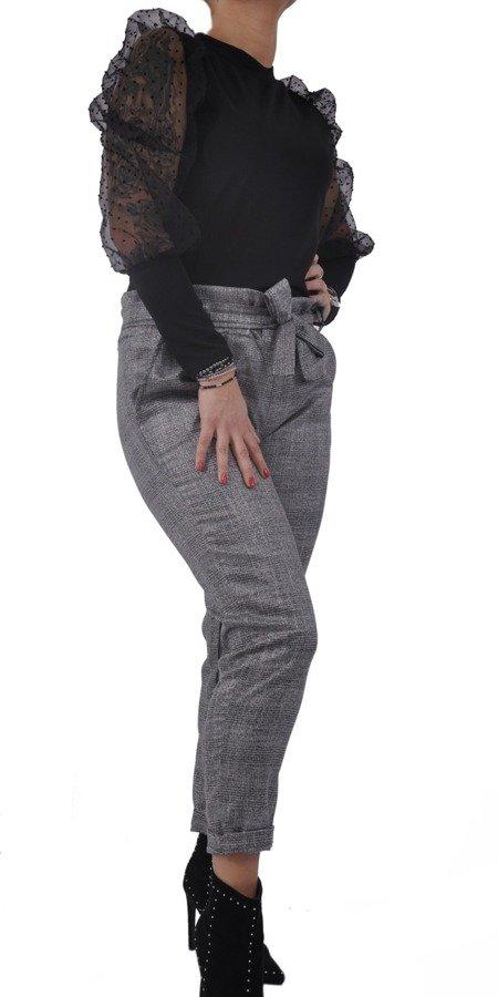 Bluzka czarna tiulowy rękaw w kropki