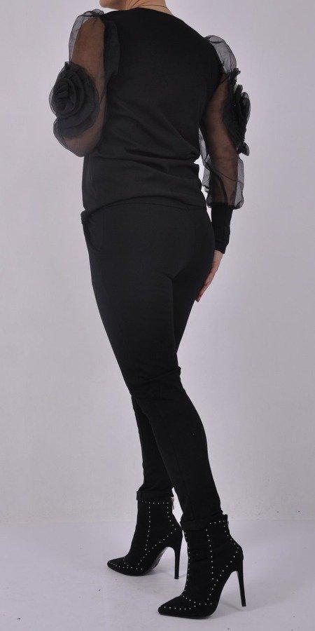 Bluzka czarna z tiulowymi rękawami