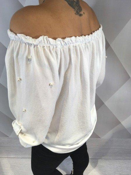 Bluzka hiszpanka biała z perłami