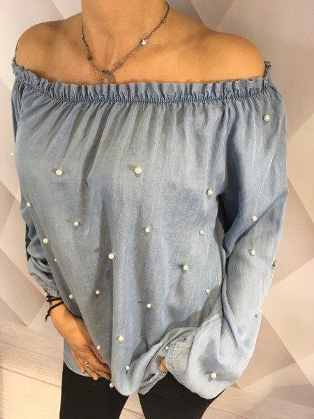 Bluzka hiszpanka niebieska z perłami