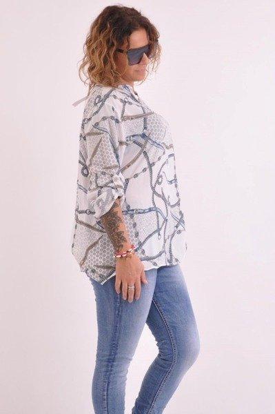 Bluzka koszulowa biała łańcuch