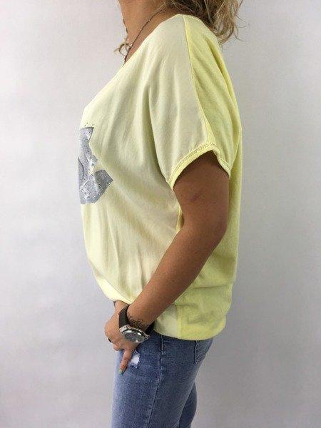 Bluzka kwiat cekin żółta
