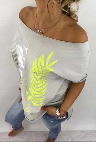 Bluzka liść palmy szara