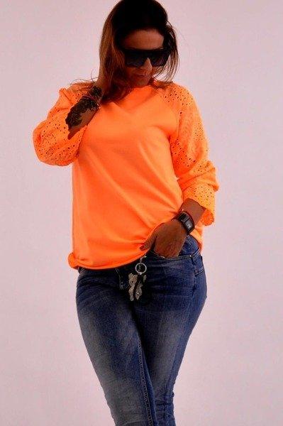 Bluzka pomarańczowa rękaw gipiura