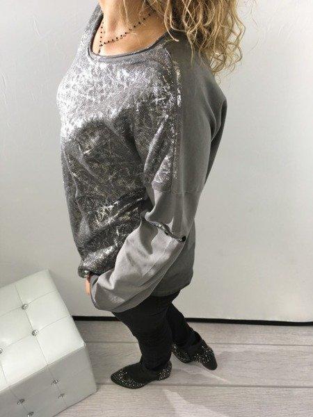 Bluzka szara srebro święta