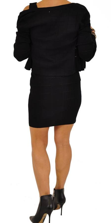 Komplet czarny-sukienka i sweterek S/M