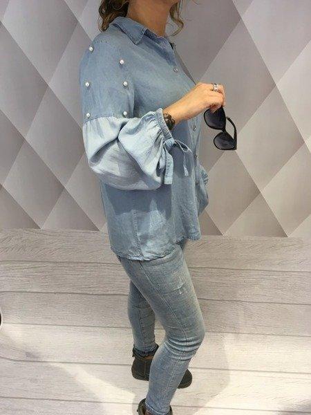 Koszula jeansowa błękitna z perłami