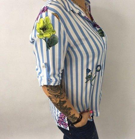 Koszula w niebieskie paski i kwiaty M.