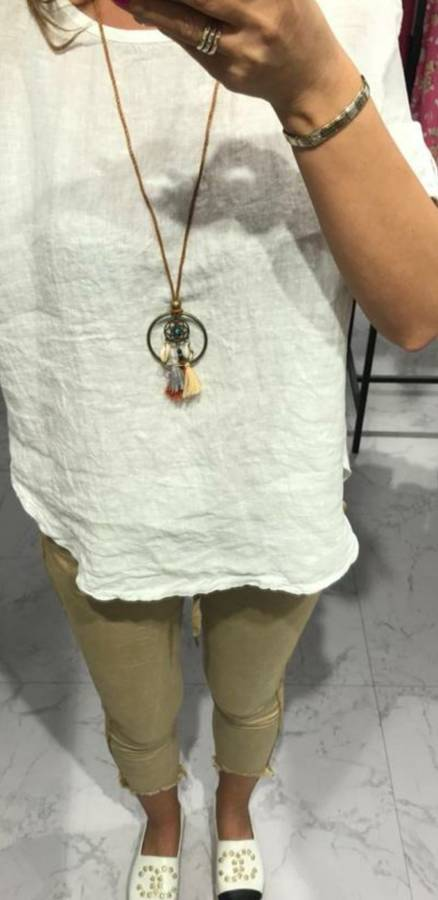 Lniano-bawełniana bluzka w kolorze białym