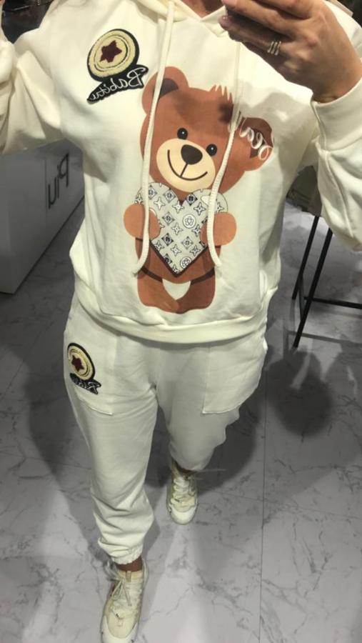 Oryginalna kremowa bluza z misiem S/M