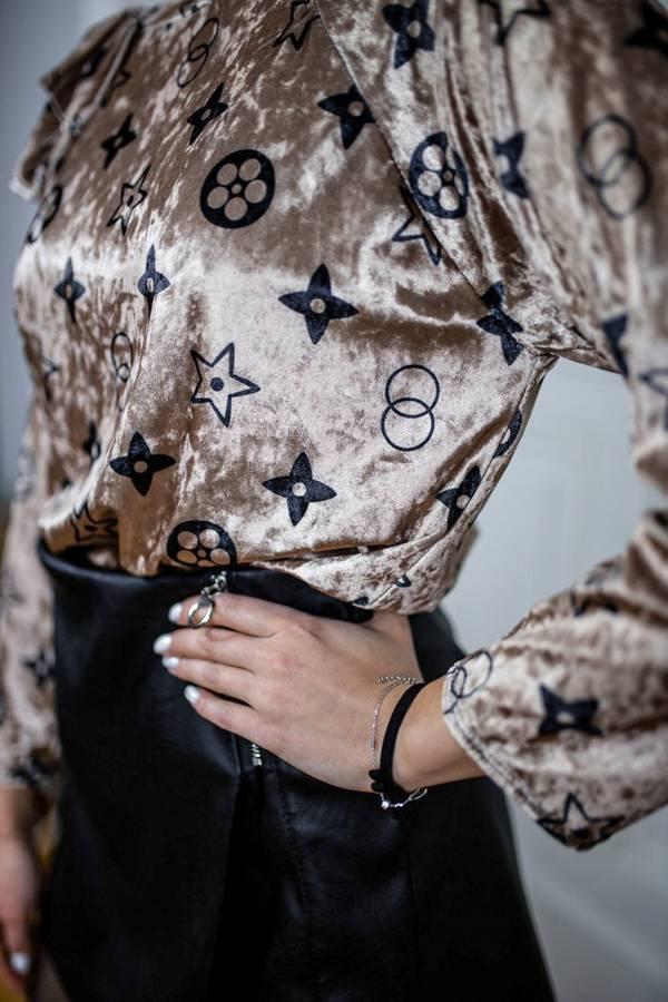 Piękna bluzka beżowa welurowa