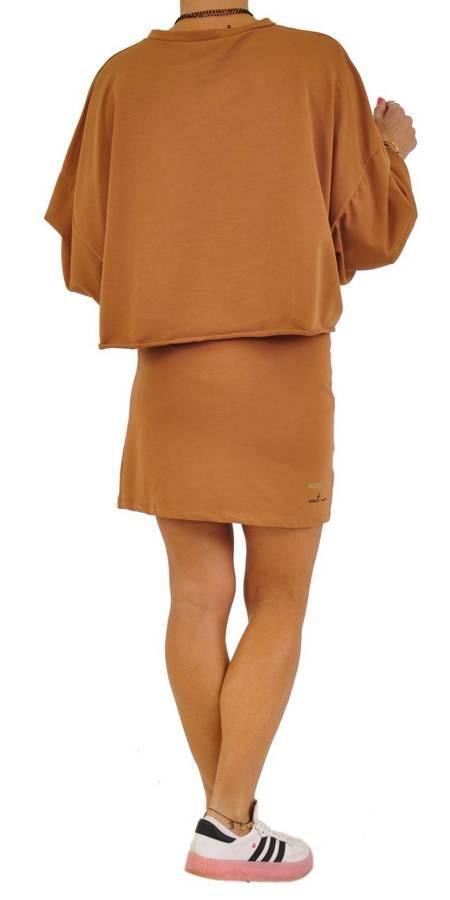 Spódnica camel bawełniana z napisem na dole S/M