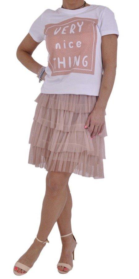 Spódnica różowa tiul falbany