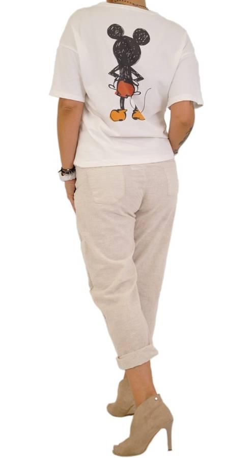 Spodnie beżowe lniane z motywem Miki