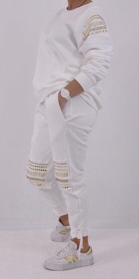 Spodnie białe z ozdobnymi nitami S/M