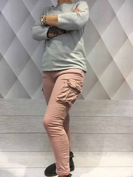 Spodnie bojówki różowe kieszeń perły L.
