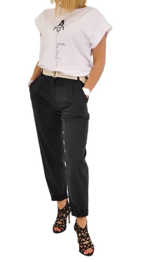 Spodnie czarne z beżowym paskiem S