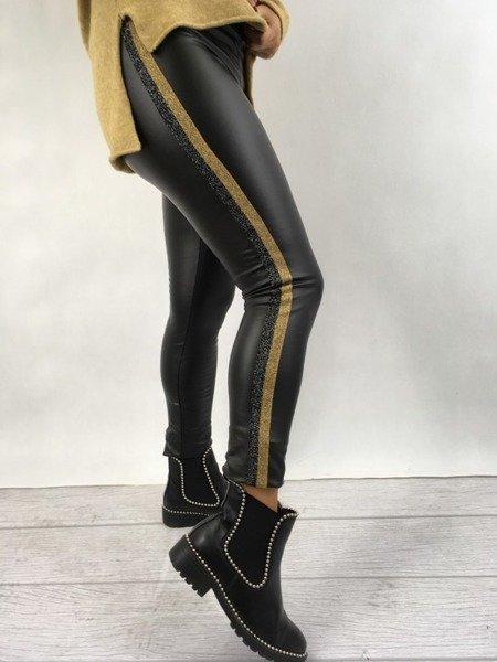 Spodnie czarne z lampasem