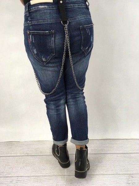 Spodnie jeans z naszywkami M