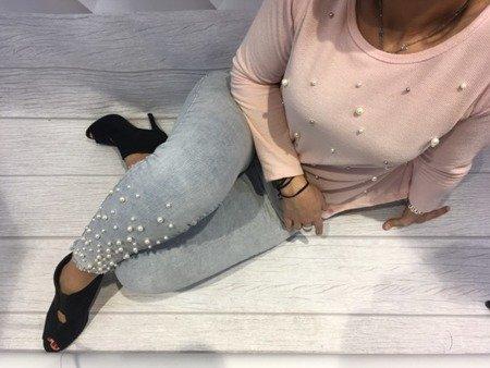Spodnie jeans z perłami M