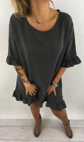 Sukienka asymetryczna grafit