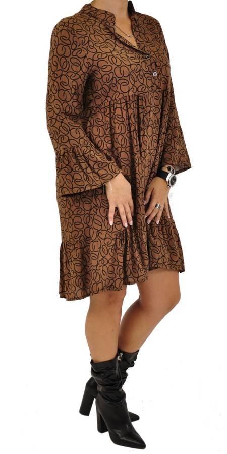 Sukienka camel print guziczki