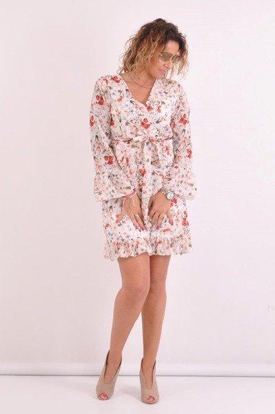 Sukienka czerwone maki falbana