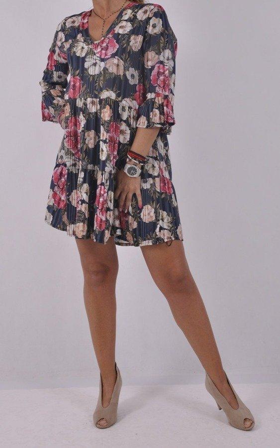Sukienka granatowa w kwiaty