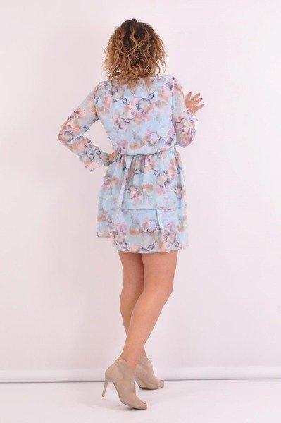 Sukienka -kwiaty-niebieska