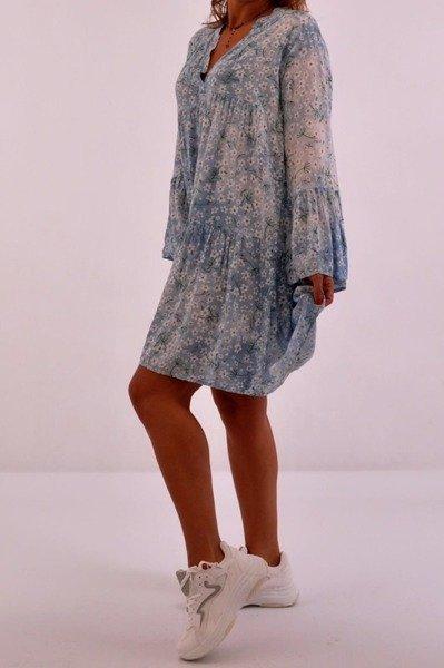 Sukienka niebieska w kwiatki