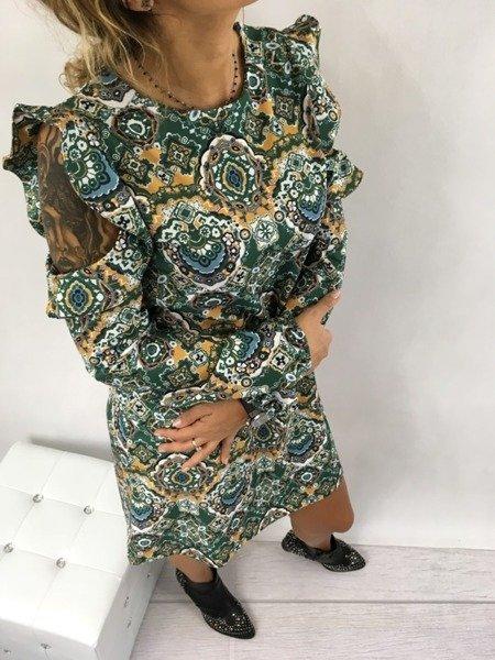 Sukienka odkryte ramiona wzór zielona