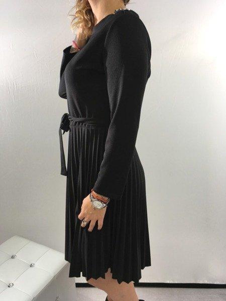 Sukienka plisowana guziki święta