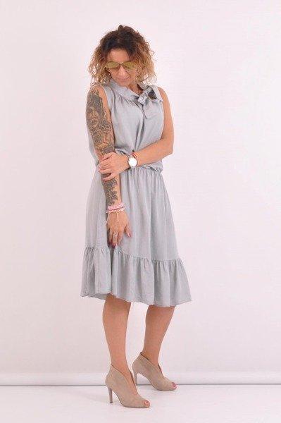 Sukienka popielata wiązana przy szyi