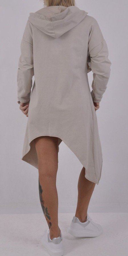 Sukienka tunika beżowa z kapturem