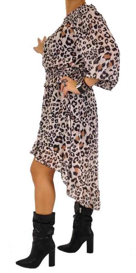 Sukienka w beżową panterkę asymetryczna
