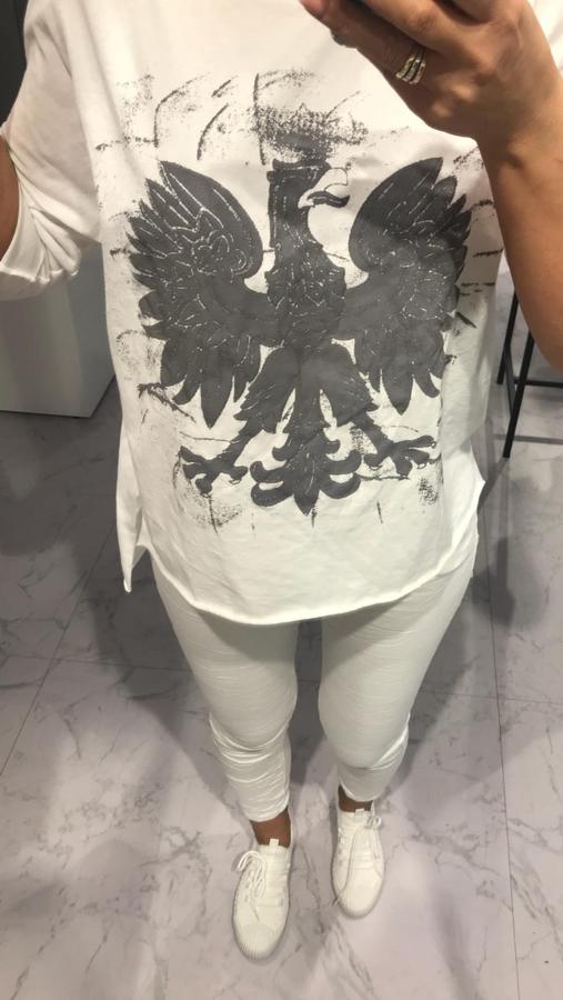 Super gatunkowa biała bluzka z motywem orła