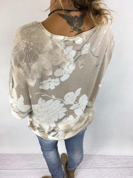 Sweter beżowy w kwiaty
